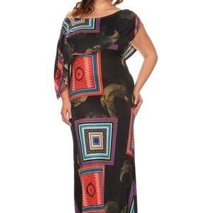 Asymetrical Print Maxi Dress